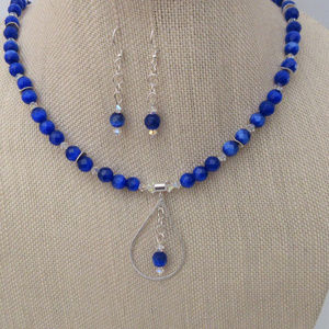 Sapphire Cats Eye Sterling Pendant Necklace Set